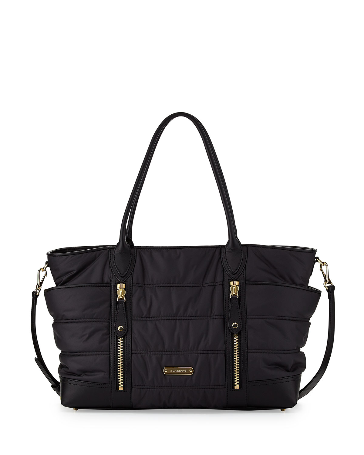 Quilted Nylon Diaper Bag Black