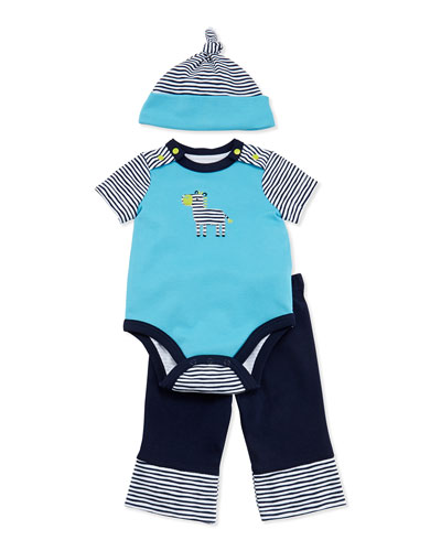 Offspring Zebra Playsuit, Pants, and Hat Set, 3-9 Months