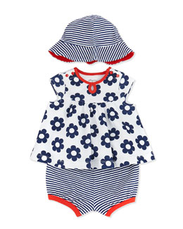 Offspring 3-Piece Daisy-Print Dress, Diaper Cover & Hat Set, White, 3-24 Months