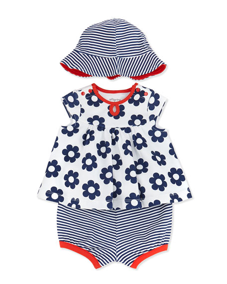 3-Piece Daisy-Print Dress, Diaper Cover & Hat Set, White, 3-24 Months