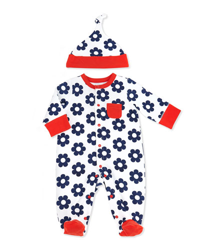 Offspring Two-Piece Daisy-Print Footie & Hat