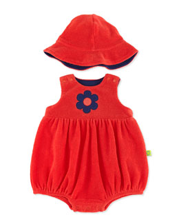Offspring Two-Piece Terry Shortall & Hat, Red, 3-12 Months