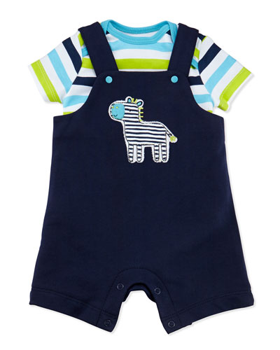 Offspring Zebra French-Terry Shortall Two-Piece Set, Black, 3-24 Months