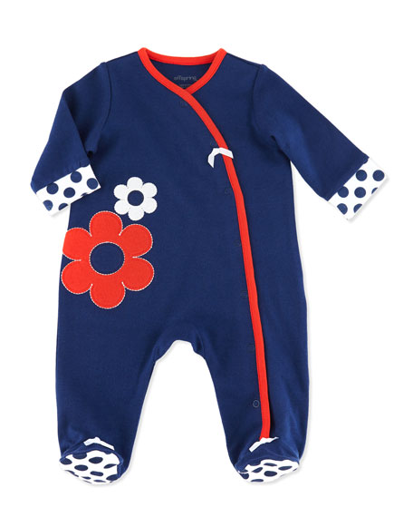 Daisy-Print Cotton Footie, Navy, NB-9M