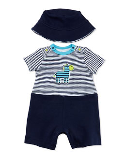 Offspring Zebra One-Piece Playsuit & Hat, Black, 3-18 Months