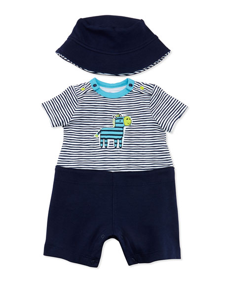Zebra One-Piece Playsuit & Hat, Black, 3-18 Months