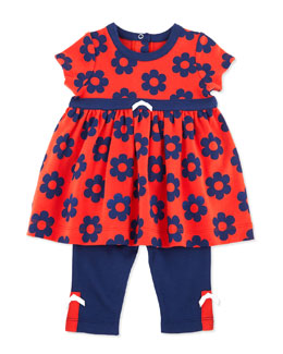 Offspring Daisy-Print Dress & Knit Leggings, Navy, 3-24 Months