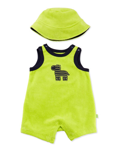 Offspring Zebra Terry Shortall & Hat, Green, 3-12 Months