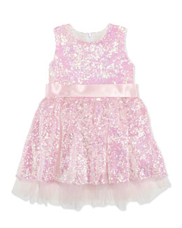 Halabaloo Sequin Party Dress, Pink, Girls' 4-6X