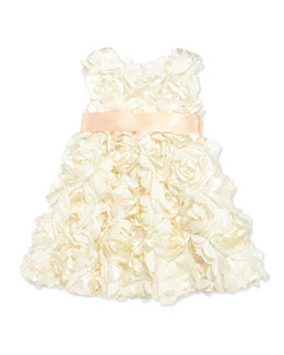Halabaloo Bouquet Satin Dress, Champagne, Toddler Girls' 2T-3T