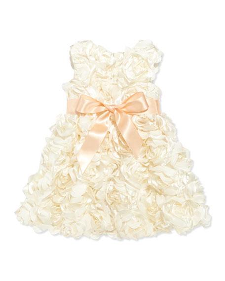Bouquet Satin Dress, Champagne, Girls' 4-6X