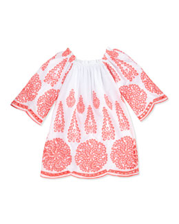 Halabaloo Neon-Embroidered Flare-Sleeve Dress, Melon, Girls' 4-6X