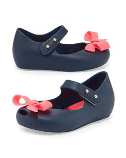 Melissa Shoes Mini Ultragirl Bow Jelly Flats, Blue/Pink