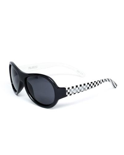 Babiators Polarized Kid's Sunglasses, Black/White, Ages 3-7