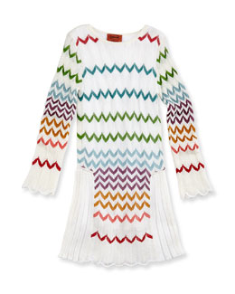 Missoni Zigzag Knit Drop-Waist Dress, Multi, Girls' Sizes 2-10
