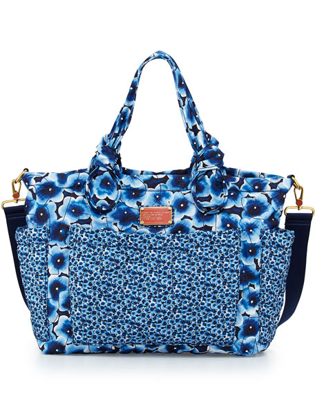 MARC By Marc Jacobs Pretty Nylon Floral-Print Diaper Bag Blue Multi