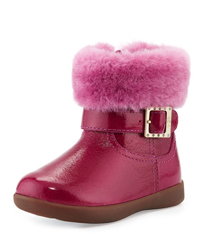UGG Australia Toddler Gemma Patent Leather Boot, Victorian Pink, Sizes 6-10T