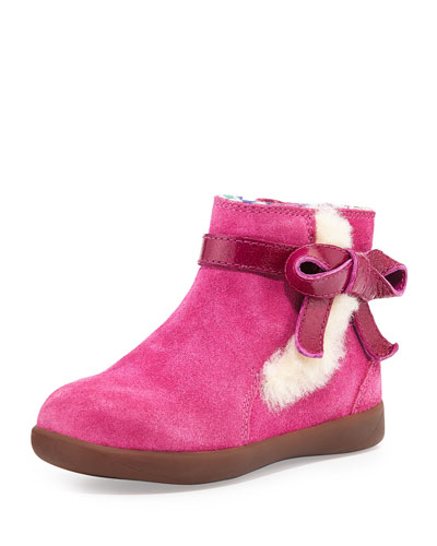 Libbie Suede Bootie with Bow, Fuchsia, Toddler