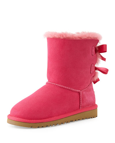UGG Australia Kids Bailey Boot with Bow, Cerise, 13T-4Y