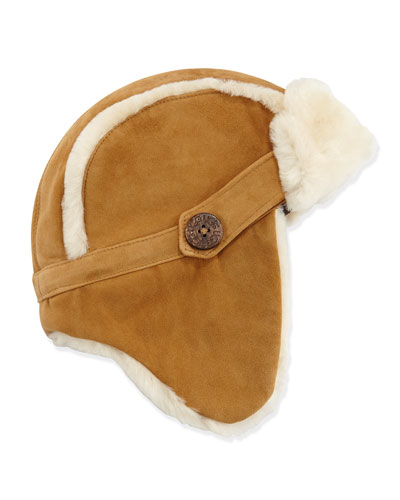 UGG Australia Shearling Fur-Lined Trapper Hat, Chestnut, 2Y-6Y