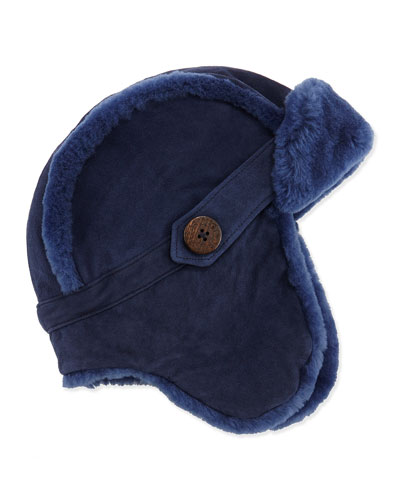 UGG Australia Shearling Fur-Lined Trapper Hat, Peacoat (Blue), 2Y-6Y