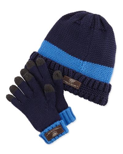 UGG Australia Knit Hat & Glove Set, Peacoat (Blue), 4Y-6Y