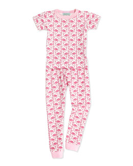 Bedhead Pink Flamingos Short-Sleeve PJ Set, 2T-8