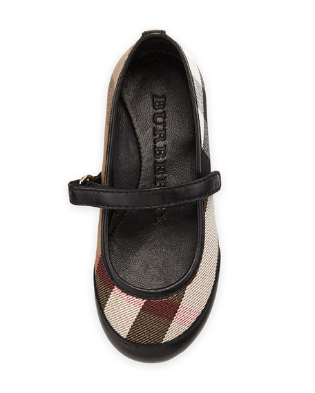 Check/Leather Ballerina Flat, Black, Infant