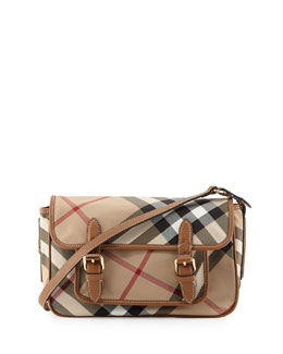 Burberry Kids' Check Messenger Bag, Tan