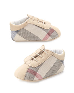 Burberry Check Newborn Boys' Shoes, Stone