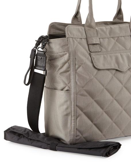 Teddy Tote Nylon Diaper Bag, Stormy Gray