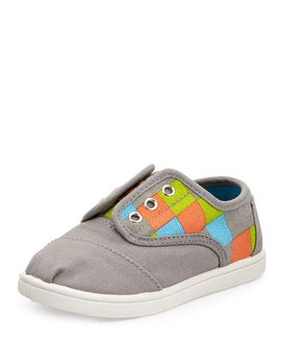 TOMS Checkered-Print Cordones, Gray, Tiny