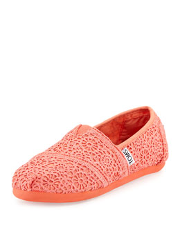 TOMS Crochet Classics Slip-On, Coral, Youth