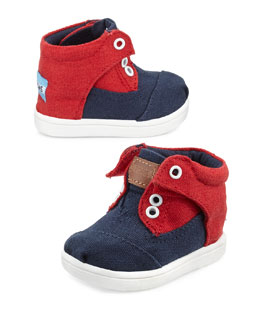 TOMS Canvas High-Top Botas, Red/Blue, Tiny