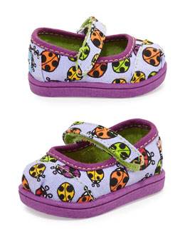 TOMS Ladybug Print Mary Janes, Purple, Tiny