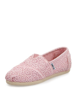 TOMS Crochet Classics Slip-On, Light Pink, Youth