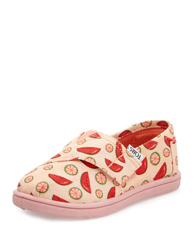 TOMS Watermelon Printed Canvas Slip-On, Pink, Tiny