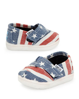 TOMS American Flag Classic Slip-On, Blue/Red, Tiny