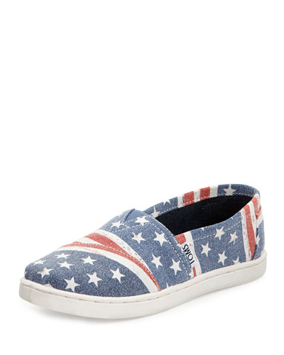 TOMS American Flag Canvas Slip-On, Blue/Red, Youth