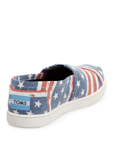American Flag Canvas Slip-On, Blue/Red, Youth