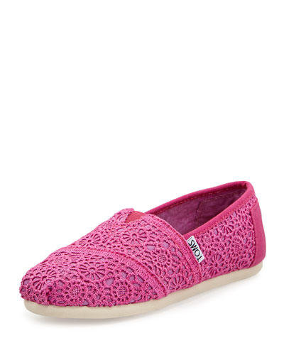 TOMS Crochet Classics Slip-On, Fuchsia, Youth