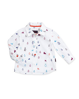 Paul Smith Penguin/Walrus-Print Sport Shirt, Boys' 3M-3T
