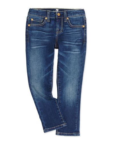 7 For All Mankind Slim Cropped Girls' Jeans, Blue Shadow, 2T-4