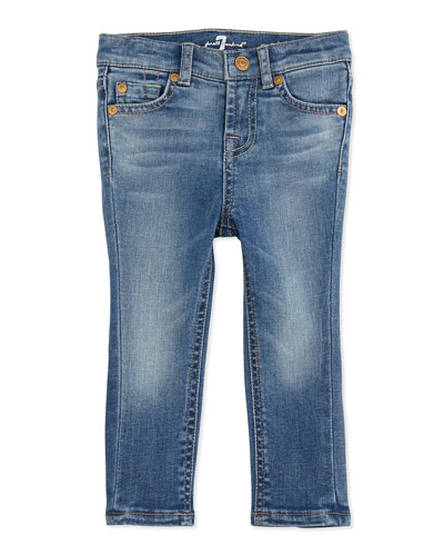 7 For All Mankind Five-Pocket Skinny Jeans, Light Cobalt Blue, 12-24 Months
