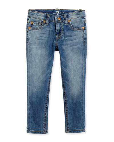 The Skinny Faded Denim Jeans, Light Cobalt Blue, Sizes 7-14