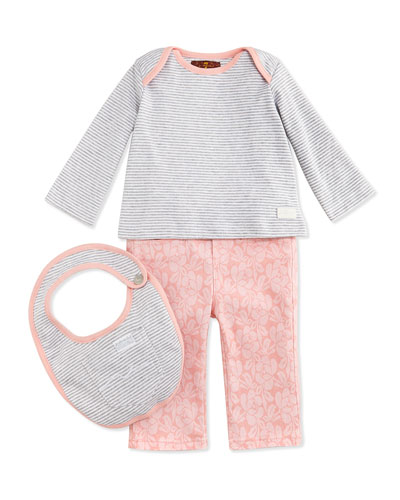 Infant Striped Tee, Pant & Bib Set, Pink/Gray, 0-9 Months