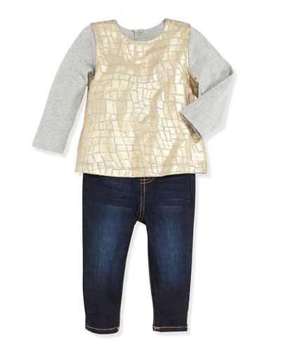 7 For All Mankind Foil Print Top & Skinny Jeans Set, Girls' Newborn-9 Months