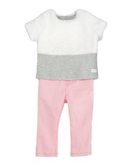 Plush Faux-Fur Top & Skinny Jeans Set, 12-24 Months