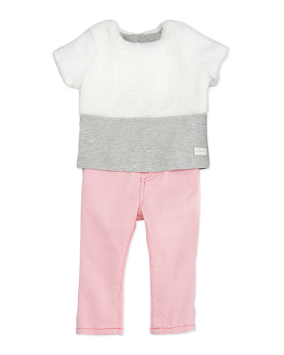7 For All Mankind Plush Faux-Fur Top & Skinny Jeans Set, 12-24 Months