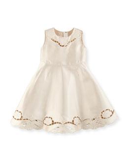 Satin Cutwork-Trim Dress, Girls' 8-12